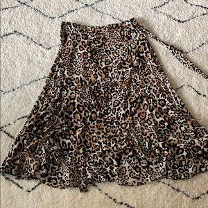NWT Whistles Animal Print Frill Wrap Skirt